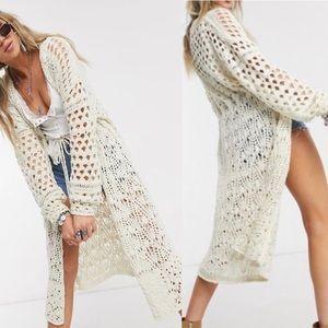 Free People Sweet Talker Crochet Knit Cardigan NWT